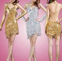 Wholesale Latin Ballroom Dresses For Competition - Women fringe tassel latin ballroom salsa cha cha Samba rumba jive dancewear competition Sequin fancy dress costumes for sale