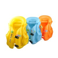 Wholesale child inflatable life vest - Wholesale- 3 Size Boys Girls Drifting Adjustable Children Kids Baby Inflatable Life Vest Swiwmsuit Kids Safety Vest For Fishing Swimsuit