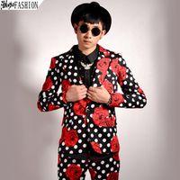 Wholesale Blaser Mens - Wholesale- 2016 Fashion Mens Flower Blazer Floral Jacket Polka Dot Blazer Prom Party Dress Club M-3XL Mens Outfits Slim Fit Fancy Blaser