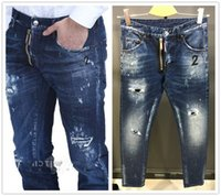 Wholesale 24 Buttons - Brand Skinny Button Fly Mens Jeans Micro-stretch Denim Desinger D1717-24 Slim Top quality Make Shabby holes MENS Jeans