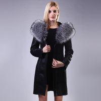 piel de zorro al por mayor-Fox real Fur Lady traje de la sección Personalización personalizada Fashion women Cuero artificial de gamuza negro