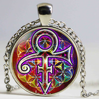 Wholesale Rain Necklace - Prince RIP Memorial Symbol Love Purple Rain Men Handmade Fashion Necklace bronze 25mm Pendant steampunk Jewelry Gift women chain