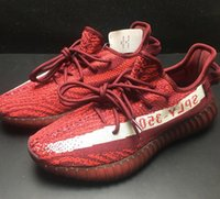 Wholesale Mens Shoes Dhl - (With Original box,Receipt) Kanye West Boost 350 V2 BY9612 core Black Red Limited Mens Running Shoes Womens Sports Shoes DHL Shipping