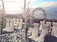 formale hochzeitsdekorationen großhandel-Auf Verkauf Billig Hochzeit Bereit Stuhl Schärpe Hotel Party Formal Anlass Dekoration Chiffon Stretch Stuhl Rückenschärpen