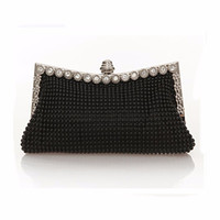 Wholesale Prom Clutch Bags - Wholesale-Hot Women Evening Wedding Bag Austrian Diamond Aluminium Female Shinestone Banquet Wedding Party Lady Beaded Prom Clutch Bags