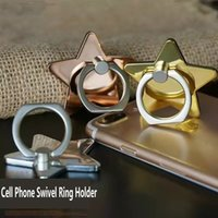 Wholesale Design Sticker Cell Phone - Lucky Star Starry Design Metal Cell Phone Holder Sticker Phone Mount Electroplate 360 Swivel Ring Cell Phone Holder for Iphone Samsung
