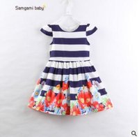 Wholesale Toddler Shorts For Summer - Baby Girls Dress Outfit 2017 Summer Cotton Striped Floral Dress for Girls Cute Striped Dresses Ins Clothes Toddler Infant Floral Clothes 493