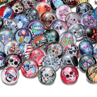 Wholesale Colorful Skull Bracelets - 50pcs lot Mixed Colorful Skull Pattern Glass Snap Charms 18mm Ginger Snap Button For Snap Bracelet Snaps Jewelry KZHM028