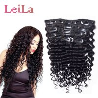 Clip de cheveux vierge dans les extensions de cheveux Deep Wave Curly 70-120g Indian Full Head 7 pièces One Set Hair Weft Hot Sell