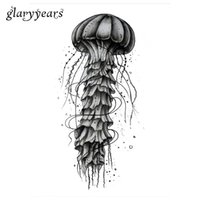 Wholesale Tattoos Pictures Designs - Wholesale- 1pc Temporary Tattoo Body Art Sticker KM-025 Creative Ocean Jellyfish Picture Design Water Transfer Sexy Tattoo Sticker Products