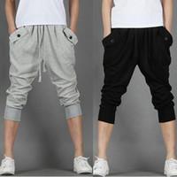 Wholesale Mens Cropped Pants Trousers - Wholesale-2016 Hot Sale!! Fashion Casual Loose Mens Capri Cropped Pants Sweatpants Jogger Trousers 2 Colors M-XXL