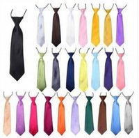 Wholesale Elastic Neckties - 40pcs Baby Boy School Wedding Elastic Neckties neck Ties-Solid Plain colors 32 Child School Tie boy