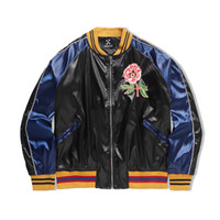 Wholesale Cowl Neck Men - 17SS Flower snake embroidery Yokosuka vintage baseball jacket Men and women with money Black and blue Mosaic