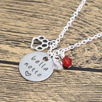 Wholesale Bella Pendant - 12pcs lot Valentine's Day Necklace Bella Notte necklace Silver tone crystals Valentine's Day Gift Dog Lover True Love