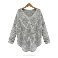 Wholesale Hi Lo Sweater - Wholesale-Thin Sweater Women Casual Argyle Hollow Out V Neck Long Sleeve Hi-Lo Knitted Pullover Blouse Oversized Sweater Gray T9