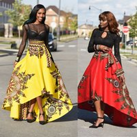 Wholesale High Waist Ball Gowns - Traditional African Print Dashiki High Waist Ankara Floral Long Skirt A-Line Hippie Indian Style Pattern Asymmetrical Floor Length Skirts