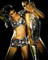 trois lentilles achat en gros de-costumes féminins chanteuse danseuse hot-vente argent matériel de lentille réfléchissante ds classique trois pièces set miroir barre de noël spectacle