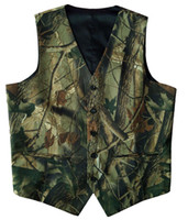 Wholesale Camouflage Waistcoat - Camouflage Mens Suit Vests Unique Groom Vests Farm Wedding Vest Spring Summer Autumn Realtree Camo Vest Male Slim Fit Waistcoat Men Vest+Tie