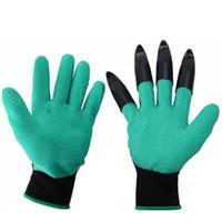 tarjetas de visita del paisaje al por mayor-Nuevos guantes azules de jardín Un par de garras Diseño Látex Trabajos para excavar Plantar Unisex Protección de nitrito y limo resistente a los dedos
