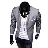 красные серые свадебные цвета оптовых-Wholesale- FGGS New Stylish Men's Casual Slim Fit Two Button Suit Blazer Coat Leisure Jacket Tops 3 Colors US size XS-L
