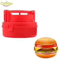 Wholesale Delidge pc Hamburger Press Mold Red Meat Burger Patty Maker Mold Plastic Hamburger Press Burger Maker Barbecue Kitchen Tools