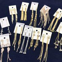 Wholesale Tassle Bags Wholesalers - 2017 American Style Tassel Earrings for Women Gold Silver Plated Tassle Alloy Long Dangle Chandelier Earrings with Retail cards & OPP bags