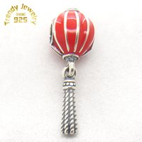 Wholesale Chinese Lantern Charm - Hot Genuine S925 Sterling Silver Charms Red Enamel Chinese Lantern Beads Charm Fit Bracelet & Pendents DIY Jewelry Free Shipping