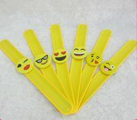 Wholesale Cute Kids Bracelets - Emoji Slap Bracelet kids cute Silicone Slap Wristband toys mix styles 25*2cm
