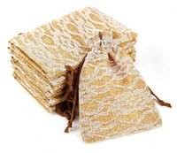 Wholesale Wholesale Cookie Bags Supply - Wedding Lace pattern candy bags cookie bags retro linen candy bag Classical Beam pocket Elegant wedding gifts