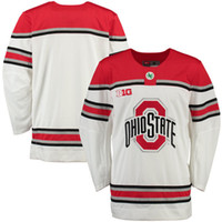 Wholesale College Hockey - Mens custom NCAA Ohio State Buckeyes College Hockey Jerseys adults White Stithed Personal Ohio State Buckeyes Jersey size S-3XL