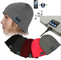 Wholesale cap headphones - Bluetooth Music Beanie Hat Wireless Smart Cap Headset Headphone Speaker Microphone Handsfree Music Hat OPP Bag Package OOA2979