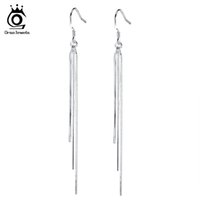 Wholesale Jewelry Long Earrings - ORSA JEWELS New Arrival Long Dangling Tassel Silver Color Earring for Women Jewelry Hot Sale Lead & Nickel Free Earrings OE88