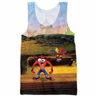 Wholesale Game Jerseys Wholesale - Wholesale- Crash Bandicoot Tank Tops Men Character Game Pattern Sleeveless Shirt Striped Vest Retro Jersey Singlets 3d Bodybuilding Tees
