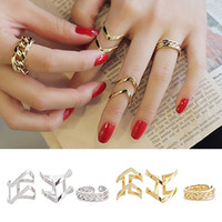 Wholesale 3pcs Fashion Ring Sets - Fashion Women's Warp Gold Silver Above Band Midi Knuckle Ring Rings 3Pcs Set