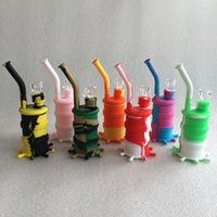 Wholesale Wholesale Mini Drums - 2016 New Arrival Mini Silicone Drum Water Pipe glass bongs glass water pipe seven colors for choice DHL free shipping