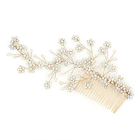 Wholesale bridal vine online - beijia Generous Gold Crystal Bridal Flower Hair Vine Handmade Wedding Comb Accessories Women Jewelry