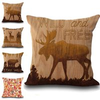 Wholesale Free Cushion Cover Patterns - Retro Wild Free Bear Deer Buffalo Pattern Pillow Case Cushion cover Linen Cotton Throw Pillowcases sofa Bed Decorative DROP SHIPPING PW529