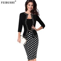 Wholesale Womens Office Jacket - FEIBUSHI 2017 Womens Autumn Retro Faux Jacket One-Piece Polka Dot Contrast Patchwork Wear To Work Office Business Sheath Dress