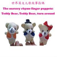 Wholesale Teddy Bear Finger Puppets - Wholesale- 3pcs set lot, Nursery rhyme finger puppets - Teddy Bear Teddy Bear Turn Around, plush finger puppet, (3pcs poly bag) t