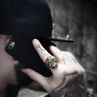 Wholesale Ring Hip Hop - drop shipping skull ring men stainless steel Hip-hop retro punk personality biker jewelry