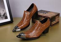 Wholesale iron man dress up - Wholesale- ntparker Super Handsome Handmade Men Genuine Leather Shoes men shoes Dress Business Shoes High Heels Iron Toe Fashion Men Shoe
