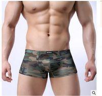 boxeadores del ejército para hombre al por mayor-Nueva Ropa Interior Hombres Boxeadores Cueca Shorts Sexy Mens Calzoncillos Boxer Masculino Ropa Interior Militar de Camuflaje Boxer