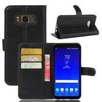 Wholesale Galaxy Active Cover - Case For Samsung Galaxy S8 Active, Fashion Litchi Pattern PU Leather Wallet Stand Case Cover with Card Slot