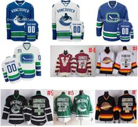 Wholesale Team Jerseys China - 30 Teams-Wholesale goalie cut Own design Vancouver Canucks Jerseys personalized Blank Or Custom NO.& Name ice hockey jerseys China Sewn On