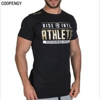 Wholesale long sleeve t shirts wholesale - Wholesale- Fashion Men's T Shirts Tops Crossfit RISE Casual Printing Workout Bodybuilding Short Sleeved Fitness Tees T-Shirts