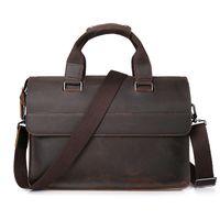 Wholesale 13 Inch Leather Messenger Bag - Wholesale- Vintage Genuine Leather Casual&Business Briefcase Men's Handbag Messenger Bags 13 inch Laptop Computer Shoulder Bag
