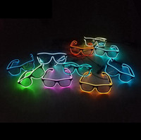 Wholesale Dj Bar Club - EL Wire Light LED Glasses Bright Light Party Glasses Club Bar Performance Glow Party DJ Dance Eyeglasses OOA2460