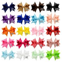 Wholesale Wholesale Hiar Bows - 2016 Baby Girls Hiar Clips 3.3 Inch Boutique Ribbon Bows With Clips Childrens Hair Accessories Baby Big Bow Barrette Headdress 20 Colors