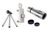 cámaras de zoom óptico móviles al por mayor-Lentes universales de la cámara del teléfono 12x Zoom Teleobjetivo Lentes ópticos Telescopio Clips Trípode móvil para iPhone 5s 6 6s 7 Plus Xiaomi
