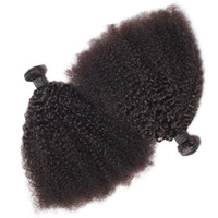 Wholesale brazilian afro hair weave - Brazilian Virgin Human Hair Afro Kinky Curly Wave Unprocessed Remy Hair Weaves Double Wefts 100g Bundle 2bundle lot Can be Dyed Bleached